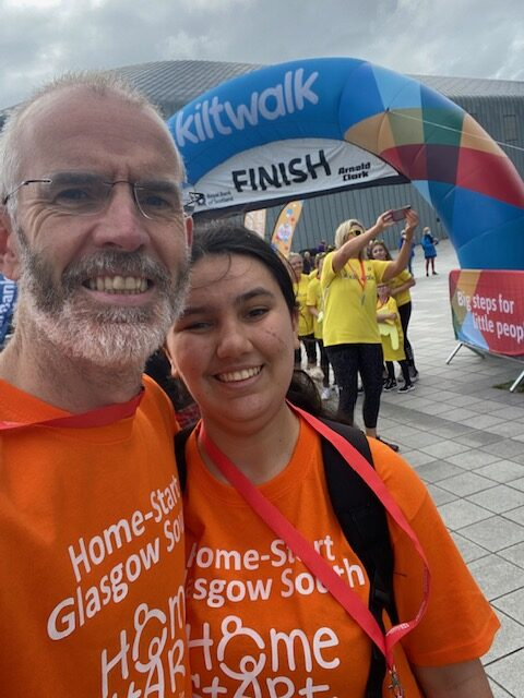 Tom Heaphy of Friends Legal Supports Home-start Glasgow South during the 2021 Kiltwalk